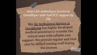 Sky Air Ambulance Service in Jamshedpur is Available with Entire Medication