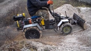 Самодельный трактор с отвалом на земляных работах