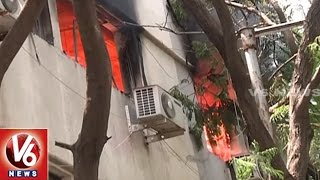Fire Breaks Out In Andhra Jyothi Office At Jubilee Hills | Hyderabad | V6 News