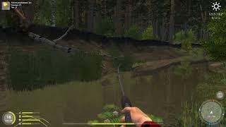 Русская рыбалка 4 - река Вьюнок - Желтая блесна-колебалка у обрыва
