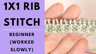 1x1 Rib Stitch for Beginners - Learn to Knit