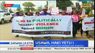 Women march  along Nairobi streets in protest of political gender gap
