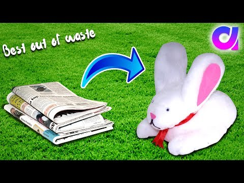 how to make cute rabbit from waste newspaper | Best out of waste | Artkala 285.