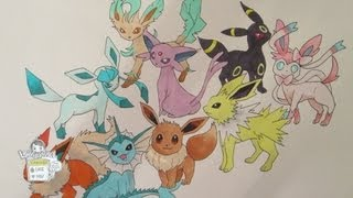 Leafeon  - (Pokémon) - How to draw Pokemon: No. 133 Eevee and all its evolutions (REMAKE)