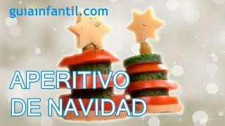 Aperitivo de Árbol de Navidad. Canapés para niños