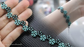 Stylized Daisy Chain Stitch Bracelet. How To Make Beaded Bracelet. Beading Tutorial