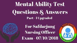 Safdarjung Nursing Officer Exam Mental Ability & Reasoning Questions Upgraded