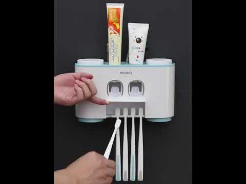 Органайзер для ванной настенный 3 в 1 дозатор для 2 тюбиков зубной пасты / держатель для 5 щеток / 4 стакана для полоскания ECOCO (EO-27955) Video #1