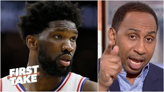 Stephen A. questions Joel Embiid's attitude: 'Is there anybody that you hate?!' | First Take