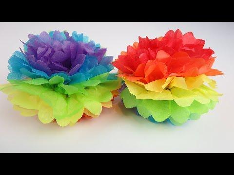 Easter Rainbow Tissue Paper Pom Pom! Fun Easy DIY Decoration for Kids!