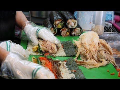 묵은지 참치 김밥 - 녹즙 영양밥 (ripened kimchi gimbap, キンパプ, キンパプ 4,000KRW) korean street food / 숙대 맛집 한입소반