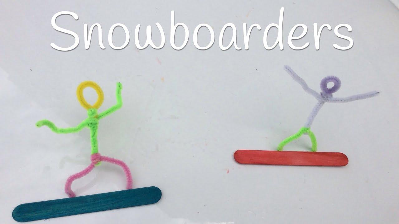 Manualidades con LIMPIAPIPAS para niños | SNOWBOADERS de limpiapipas