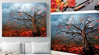 Autumn Trees | Easy Landscape Painting Demo For Beginners | Acrylic Painting Tutorial