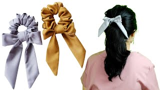 How To Make Scrunchies Easy For Beginners - DIY Knot Bow Scrunchie