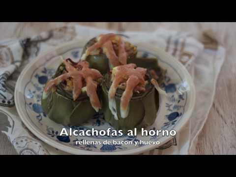 Alcachofas rellenas de bacon y huevo