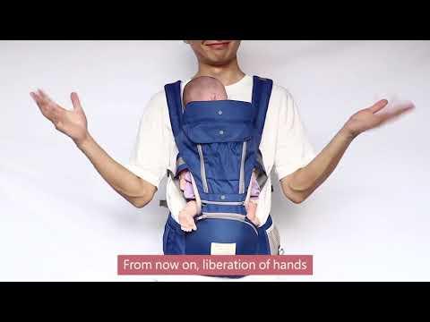 Слинг / эрго рюкзак 3 в 1 для переноски младенцев от 3.5 до 20 кг Aierbao зеленый (АО-20684) Video #1