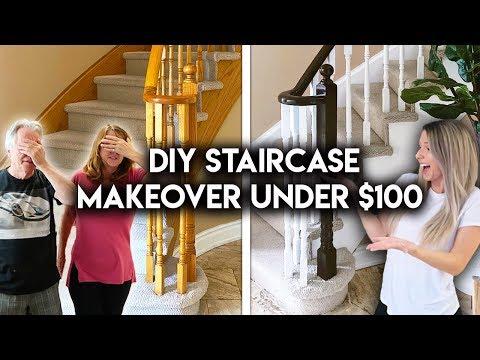 DIY STAIRCASE MAKEOVER UNDER $100 | Updating Oak Banister