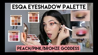 Tutorial ESQA Eyeshadow Palette Peach Goddess  + Review + Swatch | SHE&CAT