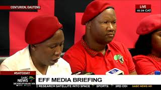 Economic Freedom Fighters' leader Julius Malema is addressing the media in Centurion....  For more news, visit sabcnews.com and also #SABCNews on Social Media.