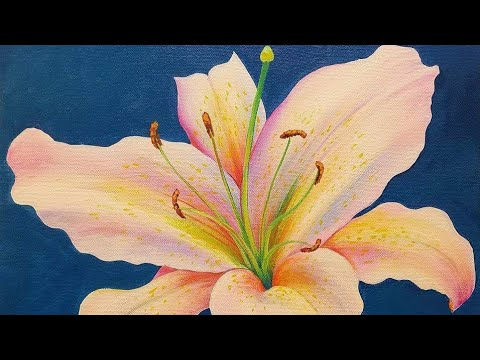 acrylic painting of lily flower step by step tutorial by angela anderson