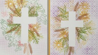 STAMP YOUR OWN PAPER with MASKED CROSSES for SYMPATHY CHRISTENING and BAPTISM cards #onesheetwonder