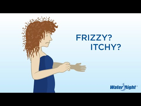 If you have a sticky feeling after showering you most likley have soap scum on your skin due to hard water. Water right softeners your water giving you a silky feeling on your skin and hair.