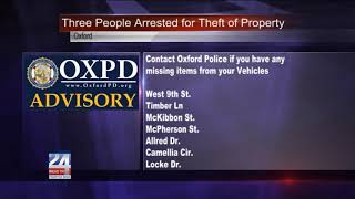 Three People Arrested in Oxford for Theft of Property