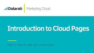 Introduction to Cloud Pages in Salesforce Marketing Cloud