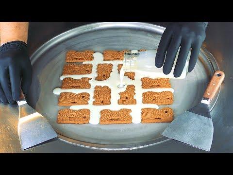 ASMR - oddly satisfying Ice Cream Rolls | fast aggressive tapping scratching & eating Spekulatius 4k