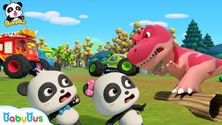Baby Panda Drops Into The Dino World | Monster Cars And Dinosaurs | BabyBus Cartoon & Songs