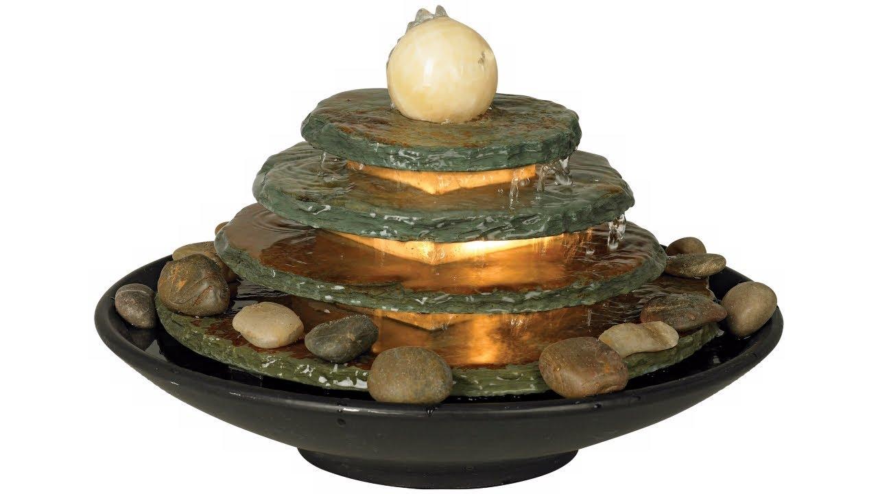 "Pyramid Feng Shui Ball Lighted 10"" High Table Fountain"