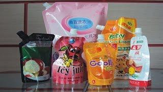 preview picture of video 'stand up spout bags semi automatic liquid detergent filling Machine de remplissage de liquide'