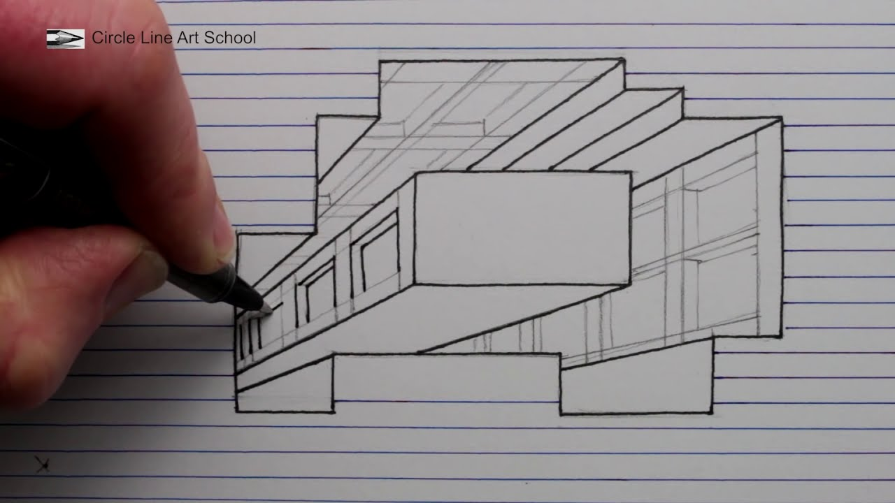 3d art drawing a hole building by circle line art school