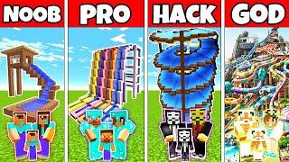 Minecraft: FAMILY WATERPARK BUILD CHALLENGE - NOOB vs PRO vs HACKER vs GOD in Minecraft Animations