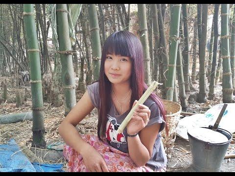 สาวข้าวหลามน้ำอ้อยต้มไทใหญ่บ้านท่าข่อย Tai Yai girl sweet rice in bamboo