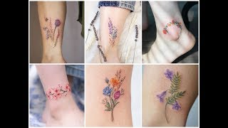 25 Delicate Tiny Watercolor Floral Ankle Tattoo Ideas