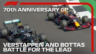 Max Verstappen's Brilliant Overtake On Bottas To Reclaim Lead | 70th Anniversary Grand Prix
