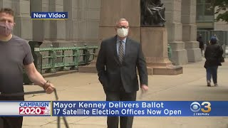 Mayor Jim Kenney Delivers Ballot To Satellite Election Office At City Hall