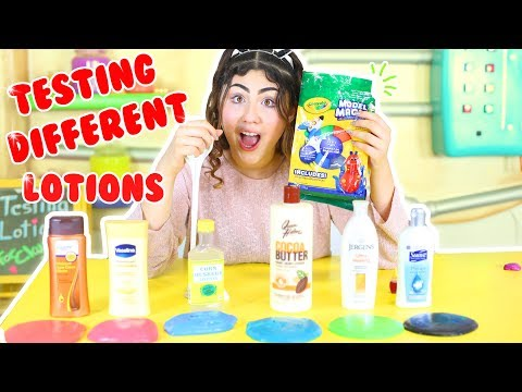 TESTING DIFFERENT LOTIONS FOR SLIME WITH MODEL MAGIC CLAY | Slimeatory #112