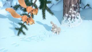 Маша и Медведь - Картина маслом (Рисунок на снегу)