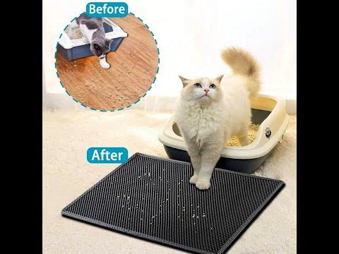 Большой коврик для кошачьего туалета/лотка двухслойный водостойкий 75 х 55 см EVA Cat Mat черный (СМ-28470) Video #1