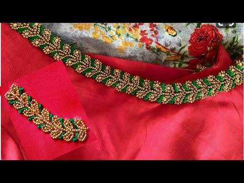 Blouse Design With Beads & long French knots | Aari Maggam Works |#33