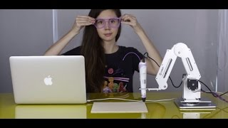 Dobot with a 3D Printer Pen prints a pair of glasses!