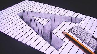 رسم حرف A ثري دي 3D محفور على الورقة | خدع بصرية ثري دي