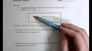 Worksheet Molarity