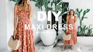 DIY SMOCKED TIERED MAXI DRESS From Scratch - Me-made Summer Challenge 2020 - Ep 1