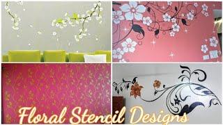 25 Floral Wall Stencil Designs | Asian Paints Stencil Design | Wall Stencil Painting | Stencil Art |