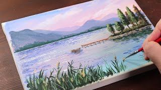Calm Lake Landscape / Easy Acrylic Painting For Beginners / PaintingTutorial / Painting ASMR