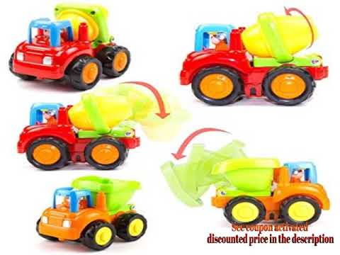 Woby Push and Go Friction Powered Car Toys Set Tractor Bulldozer Mixer Truck and Dumper for Baby Tod