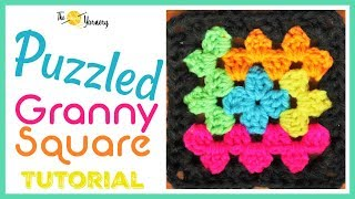 Puzzled Granny Square - Autism Crochet Afghan - Easy Log Cabin Crochet Pattern